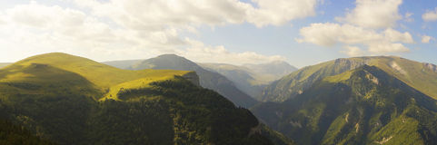 Caucasus mountain landscape. View of the river canyon and mountain Tsitsa Oshten Royalty Free Stock Photography