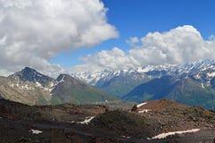 Caucasus mountain range. Mountain peaks near Elbrus, Caucasus, Russia Royalty Free Stock Photos