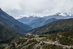 Caucasus mountain road in Svaneti region Royalty Free Stock Images