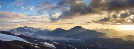 Caucasus mountains. Panorama of the Caucasus mountains sunrise Stock Photos