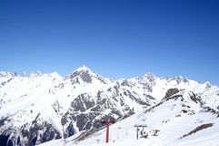 Caucasus Mountains. Dombaj. Ski resort Royalty Free Stock Photo