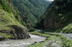 Caucasus mountains, canyon of Argun river and road to Shatili, G Stock Images