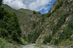 Caucasus mountains, canyon of Аrgun river and road to Shatili, Stock Image