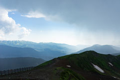 Caucasus Mountains. With clouds on a nasty day Stock Image