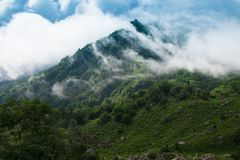Caucasus. Mountains, cloudy foggy day Royalty Free Stock Photos