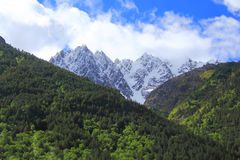 Caucasus mountains Dombai. Image of beautiful landscape with Caucasus mountains Stock Photo
