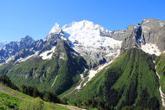 Caucasus mountains Dombai. Image of beautiful landscape with Caucasus mountains Stock Photos