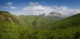 Caucasus mountains Eastern and Western Acheshbok under a blue Royalty Free Stock Photography