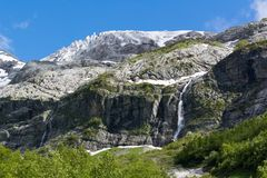 The Caucasus Mountains are a mountain system in West Asia between the Black Sea and the Caspian Sea in the Caucasus region. Royalty Free Stock Image