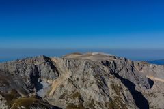 The Caucasus Mountains are a mountain system in West Asia between the Black Sea and the Caspian Sea in the Caucasus region. Royalty Free Stock Photo