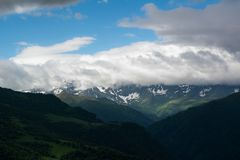 The Caucasus Mountains are a mountain system in West Asia between the Black Sea and the Caspian Sea in the Caucasus region. Royalty Free Stock Photos