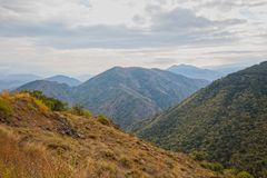 Caucasus mountains landscape. In autumn on a cloudy day stock photo