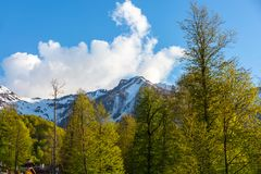 Caucasus mountains landscapes, Rosa Peak, Sochi, Russia. royalty free stock images