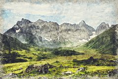 Caucasus Mountains near Roshka. Chaukhi massif and Abudelauri lakes. Khevsureti, Georgia. Digital Art Impasto Oil Painting. Abstract stock illustration