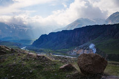 Caucasus Mountains near Stepantsminda village Stock Photo