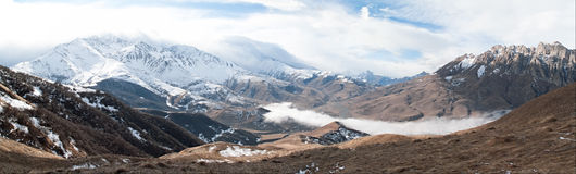 Caucasus Mountains Panoram Stock Image