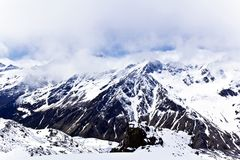 Caucasus mountains under fluffy snow stock images