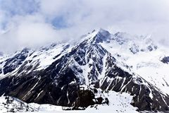 Caucasus mountains under fluffy snow royalty free stock photos