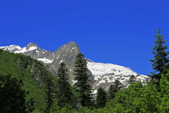 Caucasus Mountains Under Snow And Clear Blue Sky. A Caucasus Mountains Under Snow And Clear Blue Sky Royalty Free Stock Photos