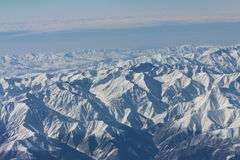Caucasus mountains. View from the airplane. Stock Image