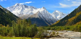 Caucasus panorama. This is sunny landscape in Caucasus mountains in fall Stock Images