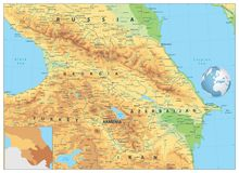 Caucasus Physical Map. Detailed map of the Caucasus royalty free illustration