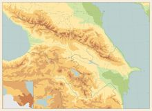 Caucasus Physical Map Retro Colors. No text Stock Photography