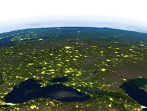 Caucasus region at night on planet Earth Royalty Free Stock Images