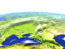 Caucasus region on realistic model of Earth Royalty Free Stock Photography