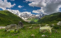 The Caucasus. Rocks in the meadow in Svaneti mountains in Georgia Stock Photography