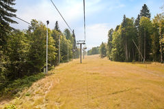 Caucasus. Ropeway. Olympic object, ropeway on the slope of mountain Royalty Free Stock Image