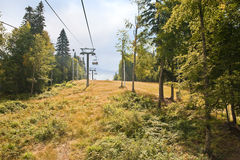 Caucasus. Ropeway. Olympic object, ropeway on the slope of mountain Stock Photography