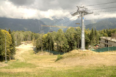 Caucasus. Ropeway. Olympic object, ropeway on the slope of mountain Stock Photos
