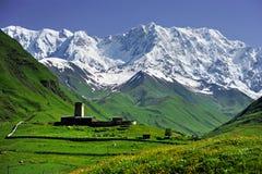 Caucasus Shkhara mountain seen from Ushguli village. Summer landscape with Caucasus Shkhara mountain seen from Ushguli village in the upper Svaneti region Royalty Free Stock Photos