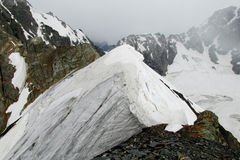 Caucasus snow and rocky peaks landscape Royalty Free Stock Photography