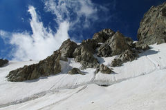 Caucasus snow and rocky peaks landscape Stock Images