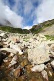 caucasus stenar den flödande glaciären strömmen Royaltyfri Foto