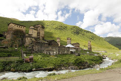 Caucasus village. View of the village in the mountains of the Caucasus. The characteristic towers of stone Stock Photo