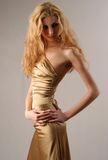 Caucazian Model In Gold Sexy Dress