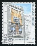 Cauchie house. RUSSIA KALININGRAD, 26 OCTOBER 2015: stamp printed by Belgium, shows Cauchie house, Brussels, by Paul Cauchie, Architectural designs, circa 1995 stock image