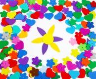 Caucho de esponja con la flor Fotos de archivo libres de regalías
