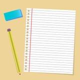 Caucho de lápiz de papel de la nota Fotos de archivo libres de regalías