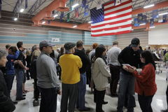 Caucus goers and voters wait in line to enter a caucus location in Las Vegas, Nevada, U.S., on Tuesday, Feb. 23, 2023 Royalty Free Stock Images