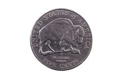 Cauda da moeda de níquel do Estados Unidos com búfalo cinco centavos Fotos de Stock