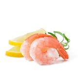 Cauda do camarão com limão fresco Foto de Stock