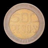 A cauda do 500 pesos colombianos inventa, emitido em 2000 Fotografia de Stock Royalty Free