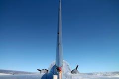 Cauda dos aviões em voo Imagem de Stock