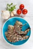 Caudas cruas dos camarões fotografia de stock royalty free