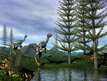 Caudipteryx dinosaurs - 3D render royalty free illustration