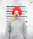 Caught In The Act. Clown Woman Gets Her Police Criminal Record Photograph Taken Down The Police Station After Being Caught In The Act Stock Image